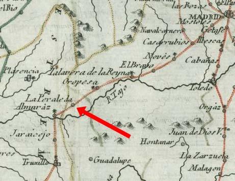 Peraleda en el mapa de las rutas de postas en 1760