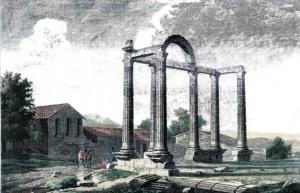 Grabado de Alejandro Laborde, 1865. En primer plano el templo de los Mármoles, al fondo las 3 columnas del templo de la Cilla, hoy también salvadas de las aguas.