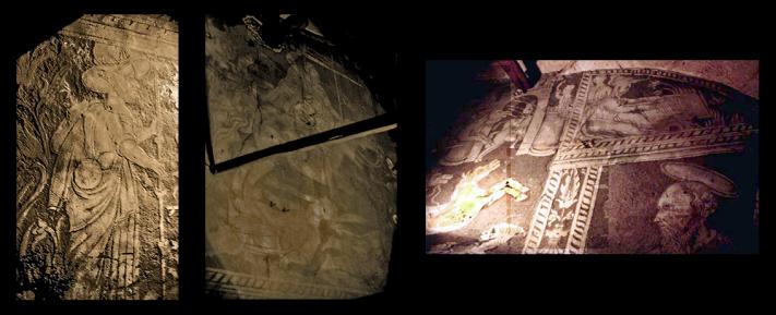 Esgrafiados ocultos tras el retablo mayor
