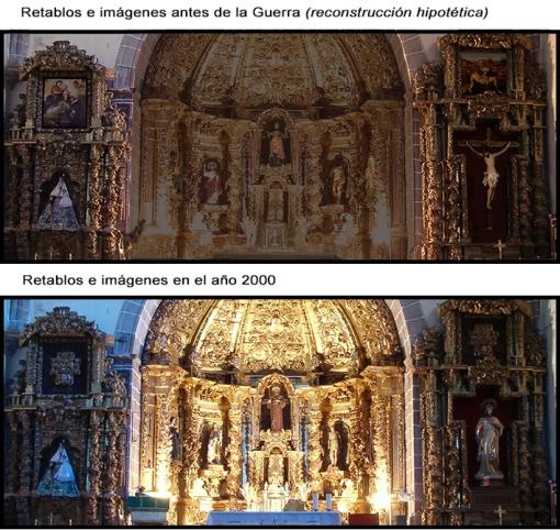 Antes y Después - Retablo altar mayor Peraleda de la Mata
