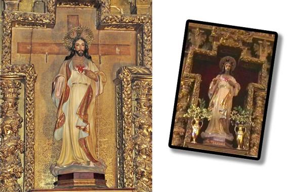 Actualmente le falta una mano (pendiente de restaurar) y detrás vemos la huella del antiguo crucifijo del Cristo de la Misericordia. A la derecha el aspecto anterior, completo y con hornacina forrada.