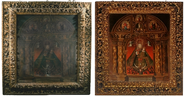 Virgen de los Quintanares antes y después de la restauración