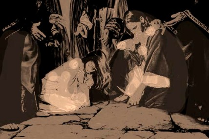 boceto Jesús y la mujer adúltera - Angel Castaño
