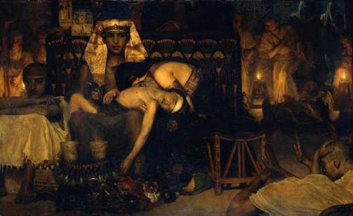 El cuadro de Jesús y la adúltera estaba pensado para ser realizado con la misma técnica que vemos en este cuadro de la muerte de los primogénitos: negros y ocres sobre base dorada