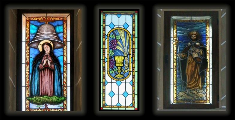 3 vidrieras de la nave de la iglesia de Peraleda