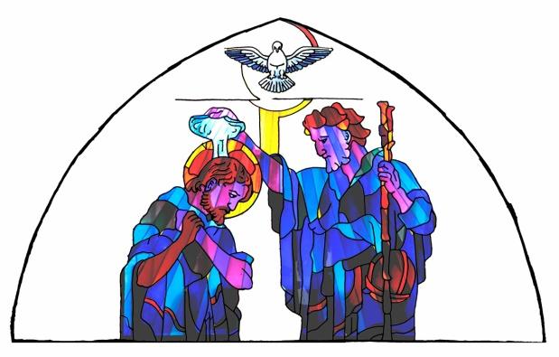 Dibujo vidriera bautismo - imagenes centrales - COLOR