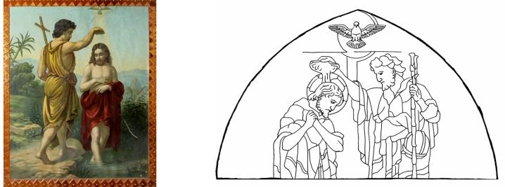 Cuadro del baptisterio y dibujo de la escena central de la vidriera del Bautismo de Jesús, por Angel Castaño. Peraleda de la Mata.