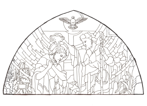 Dibujo vidriera del Bautismo de Jesús, por Angel Castaño. Peraleda de la Mata.