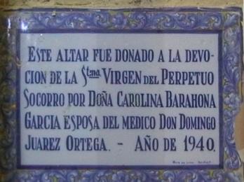 Letrero junto al desaparecido Altar del Perpetuo Socorro en Peraleda