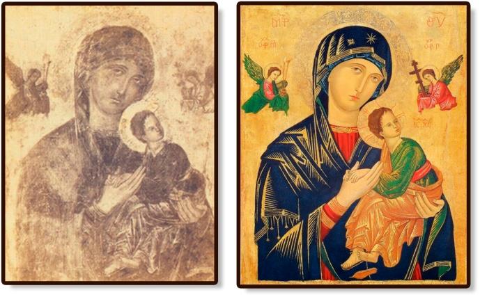 Perpetuo Socorro original - antes y después de su restauración