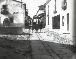 Pilón para el ganado en la calle Peligros